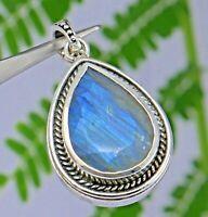 Blue labradorite gemstone design oxidized silver enhancer pendant 925 sterling
