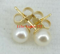 Charming AAA 4-5mm real natural Akoya white round pearl stud earring 14k Gold