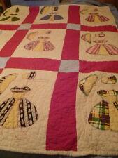 """Vintage Hand Sewn Sunbonnet Sue Southern Belle Quilt Girl Umbrellas 69"""" x 57"""" d"""