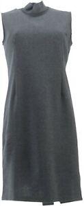 Joan Rivers Petite Mock Neck Little Black Dress Heathered Grey 12P NEW A303401