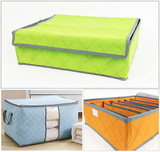 Orange 3PCs Bamboo Charcoal Socks Underwear Tie Organizer Drawer Bra Storage Box