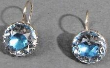 GEORGIAN EMERALD BLUE FOIL ROCK CRYSTAL SILVER & 9 CARAT Gold earrings