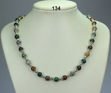 Multi-coloured natural Indian agate 8mm bead necklace, Tibetan silver spacers