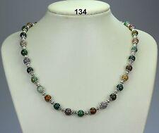 Indio natural multicolores collar de abalorios de ágata 8 mm, Separadores De Plata Tibetana