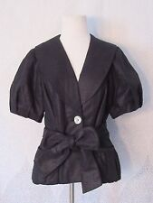 3 Sisters Jacket Spring Short Puff Sleeve Jacket Blazer Lined Buttons Linen Sz M