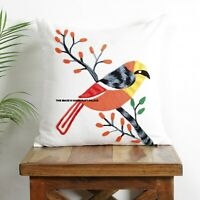 Indian Handmade Cotton Pillow Exclusive Suzani Bird Embroidery Cushion Cover 16""