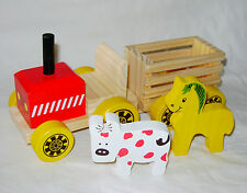 NEW TRADITIONAL CHUNKY WOODEN FARM TRACTOR WITH TRAILER & ANIMALS TOY BOXED ACK