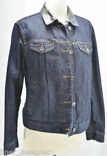 Coldwater Creek Blue Jean Jacket Stretch Denim Coat thin quilt leather 10 L NEW