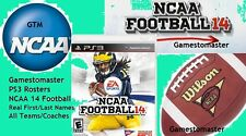 NCAA 14  for  NCAA 2017 - 2018  FOOTBALL SEASON  ROSTERS PS3 -  NCAA 17 -18