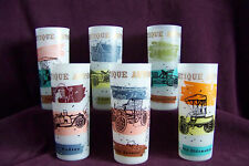 6 Antique Auto frosted glass tumblers 1900 1913 cars