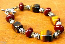 Tigers Eye Crystal Gemstone & Pottery Bead Silver Toggle Bracelet Reiki Blessed