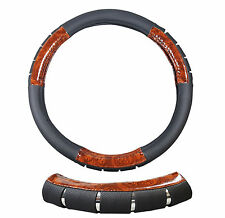 Black Faux Leather Wood Grain Grip & Chrome Steering Wheel Cover Car Auto Suv