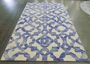 Ivory / Blue 5' x 8' Stained rug, reduced price 1172556763 DDY717A-5