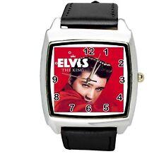 Elvis Presley Reloj Cuero De Acero Inoxidable Reloj de CD de música King Leyenda Cuadrado E5