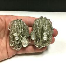 Vintage Clip Earrings Clear Glass Seed Bead & Baroque PEARL Tassel CHA-CHA oo60L