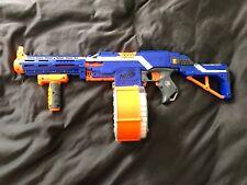 USED NERF N-Strike Elite Stryfe Motorized Gun DRUM  w/Shoulder Stock/grip