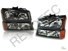 Black 03-06 Chevrolet Silverado 1500 2500 3500 Headlights Bumper Signal Lamps