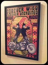 """Forever Wild"" framed 13x19 harley davidson knucklehead motorcycle mancave print"