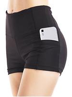 Women High Waist Yoga Shorts Workout Fitness Run Gym Sport Pants Pockets zipper