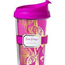 Lilly Pulitzer Flamingo Pink Metallic Gold Travel Cup Tumbler Best Price 24oz