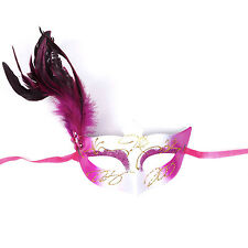 "Women's Girl's Deluxe Masquerade Mask w/ Glitter & Feather ""Federica"" - Pink"