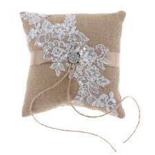 Crystal Flower Wedding Ring Pillow Cushion Bearer - Burlap - Rustic Country
