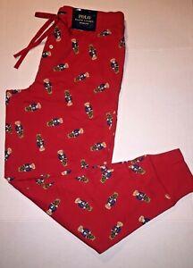Polo Ralph Lauren Bear Print Knit Sleep Jogger Pants Red Men's Large