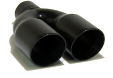 "Black Stainless Steel Round Dual Exhaust Tip 2.5"" Inlet Angled Muffler Tail Pipe"