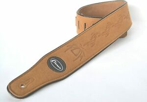 """Guitar Strap Electric Acoustic or Bass Brown embossed Suede 3"""" wide Clearwater"""