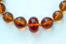 Amber Necklace - CLEAR Butterscotch - Large Graduated Round Bead - Vintage