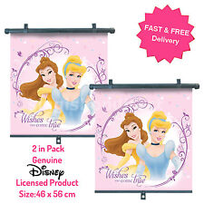2 x Genuine Disney Princess Car Window Roller Blind Sunshade Visor Baby Girl E