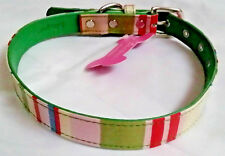 Designer Dog Collar by THINK PINK!. PU Leather Striped Pink Green Beige 16-22""