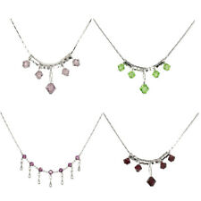 "Fashion Pendant Necklace Pink Green Purple Jewelry18k White Gold Plated 16"" New"