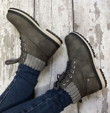 Grey Worker Boots Size 6 Fleece Top Combat Biker Walking Style Lace Up Hiker