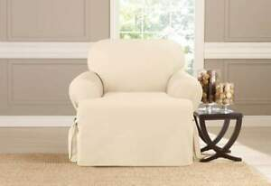 sure fit Cotton Duck One Piece T-Chair Slipcover NATURAL