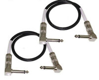 "2-Pack MDM Audio 18"" 1/4 Right-Angle Guitar Pedal Patch Cable Cord Black White"