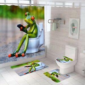 Frog Bathroom Rug Set Shower Curtain Thick Non Slip Toilet Lid Cover Bath Mat