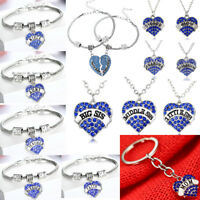 Blue Crystal Heart Necklace Pendant Mothers Mom Gifts Charm Bracelet Keyring New