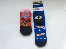 2 PAIRS WOMENS NOVELTY SOCKS * DOG/WOOF *BLUE & RED * NWL * CUTE!