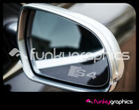 AUDI S4 LOGO MIRROR DECALS STICKERS GRAPHICS x3 IN SILVER ETCH