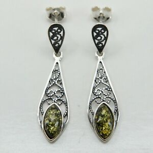 Natural Green BALTIC AMBER Earrings 925 STERLING SILVER Poland #32