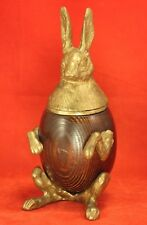 Amazing 1980's Arthur Court RABBIT Box - Wood Egg-Shaped Body, Brass Lid & Legs