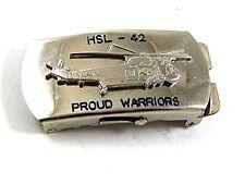 Vintage HSL-42 PROUD WARRIORS NAVY HELICOPTER Belt Buckle 11917