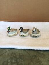 Set Of Three Homco Ceramic Ducks And Bird Christmas Ornament/Figurines