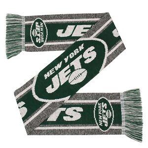 New York Jets Gray Scarf Knit Winter Neck - Double Sided Big Team Logo Grey
