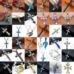 Men Women Gold Silver Black Stainless Steel Necklace Cross Pendant Chain Jewelry