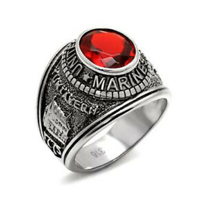 MEN'S ENGRAVED STAINLESS STEEL RED CZ USA MARINE MILITARY VETERAN RING SIZE 9-10