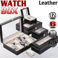 6/10/12/20/24 PU Leather Watch Jewelry Display Storage Holder Case Box Organizer