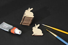 Wooden Bunny Rabbit Craft Embellishments Blank Shapes Card Making Small x 10