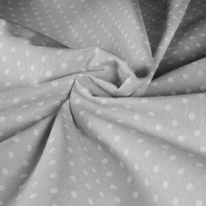 Tessuto Stoffa Cotone Fantasia Pois Bianco Fondo Grigio Taglio 280x280 cm
